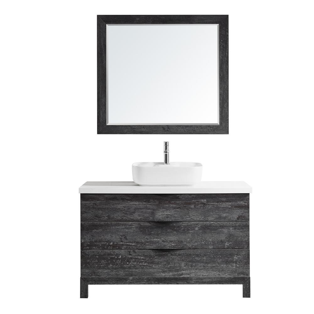 ROSWELL Spencer 48 in. W x 20 in. D Bath Vanity in Grey with Quartz Vanity Top in White with White Basin and Mirror was $1523.0 now $1066.1 (30.0% off)