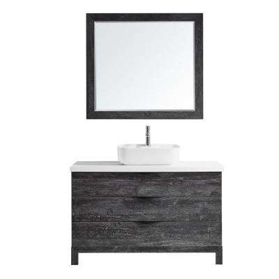 Spencer 48 in. W x 20 in. D Bath Vanity in Grey with Quartz Vanity Top in White with White Basin and Mirror