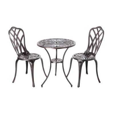 Theon Antique Bronze 3-Piece Aluminum Round Outdoor Bistro Set
