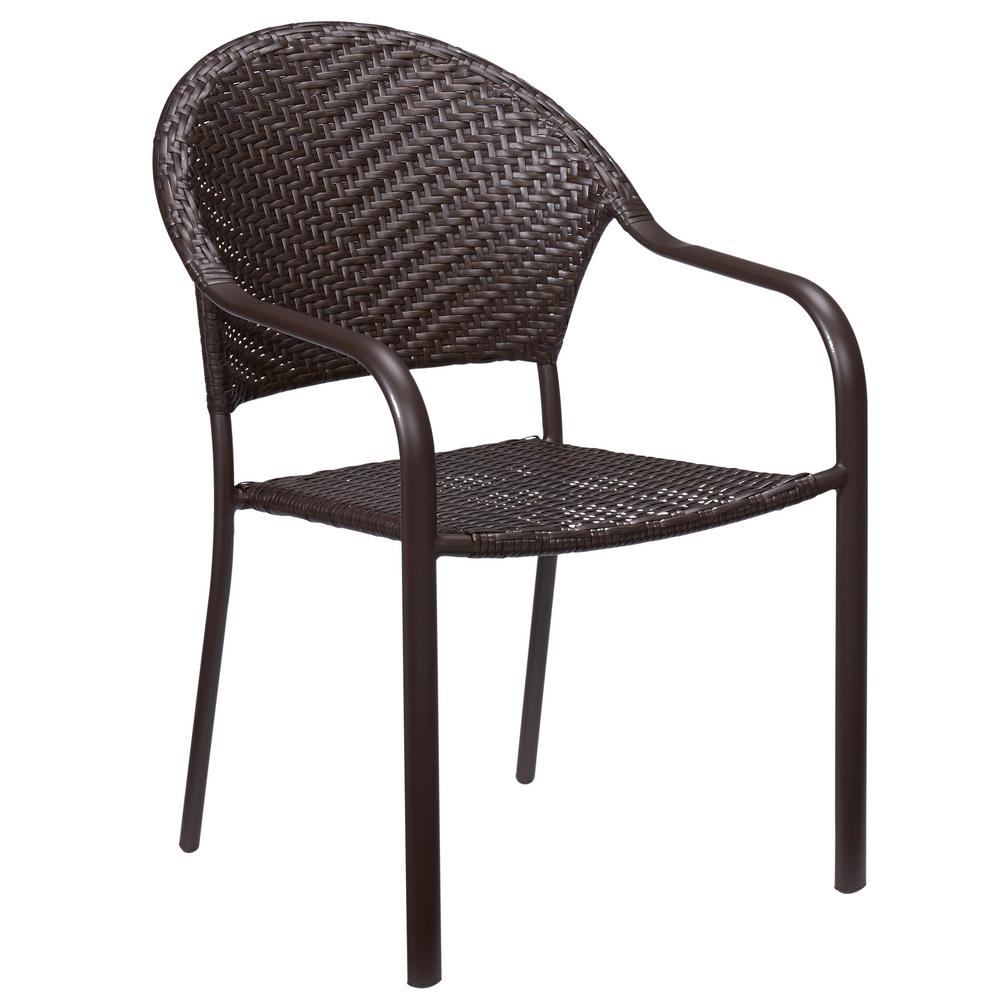 Hampton Bay Mix And Match Stackable Wicker Outdoor Dining Chair In Brown Frs60537 The Home Depot
