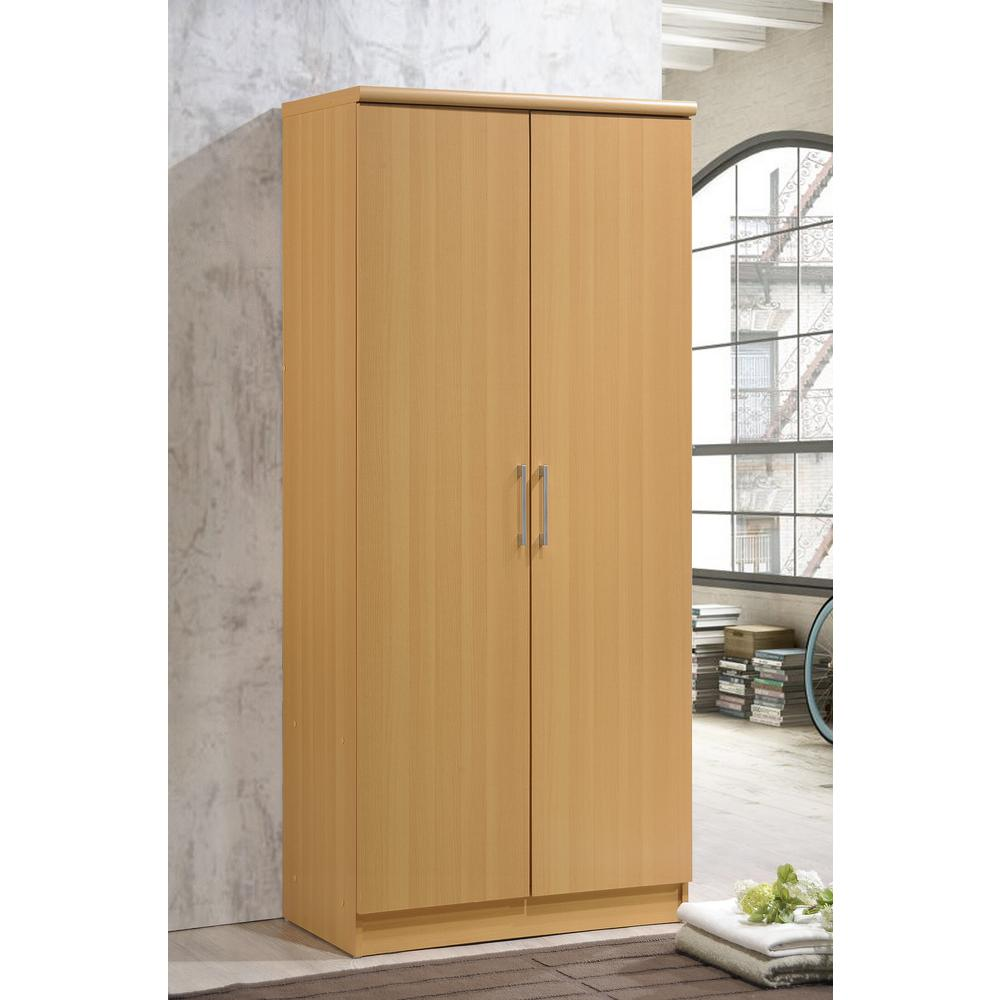 2-Door Beech Armoire with Shelves
