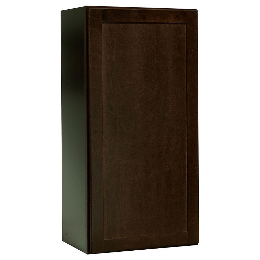 Shaker Assembled 18x36x12 in. Wall Kitchen Cabinet in Java