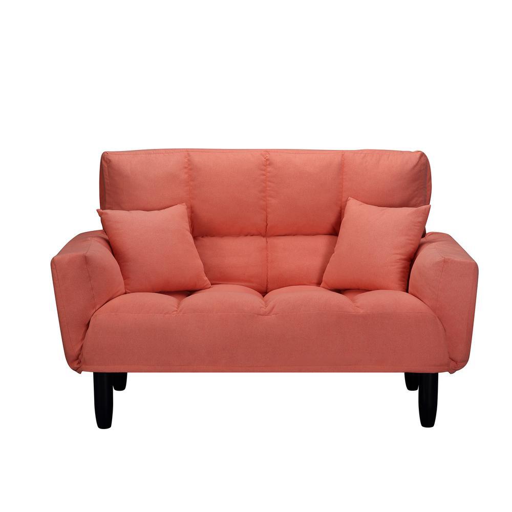 - Harper & Bright Designs Orange Chic Loveseat Sleeper Sofa (Twin