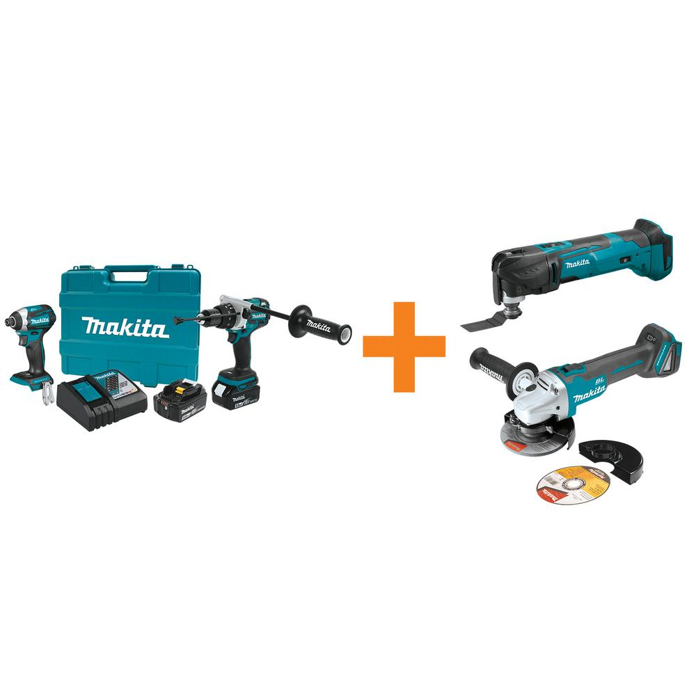makita 18v lxt lithium ion bl cordless hammer drill impact driver combo kit w bonus 18v. Black Bedroom Furniture Sets. Home Design Ideas