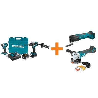 18V LXT Lithium-Ion BL Cordless Hammer Drill/Impact Driver Combo Kit w/BONUS 18V MultiTool and 18V Cut-Off/Angle Grinder