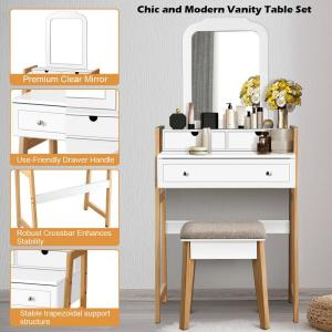 Costway 2 Piece White Makeup Vanity Table Set With 3 Drawers