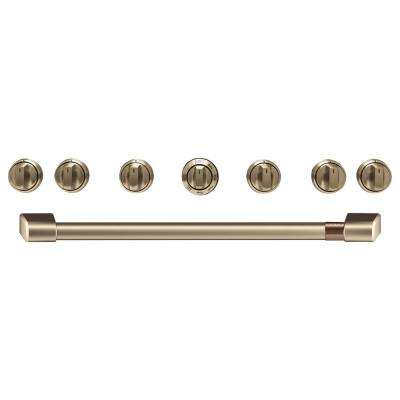 Gas Range Handle and Knob Kit in Brushed Bronze