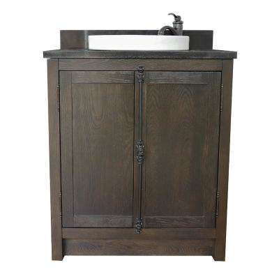 Plantation 31 in. W x 22 in. D Bath Vanity in Brown with Granite Vanity Top in Black with White Round Basin