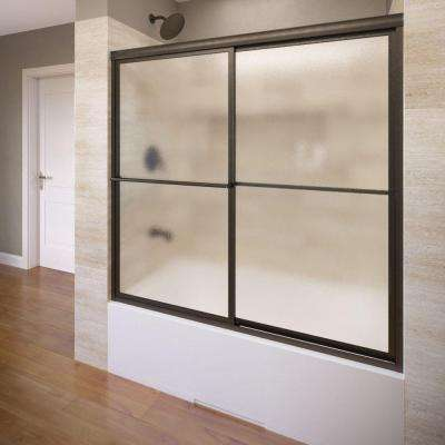 Deluxe 59 in. x 58-1/2 in. Obscure Framed Sliding Door in Oil Rubbed Bronze