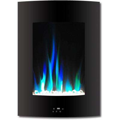 19.5 in. Vertical Electric Fireplace in Black with Multi-Color Flame and Crystal Display