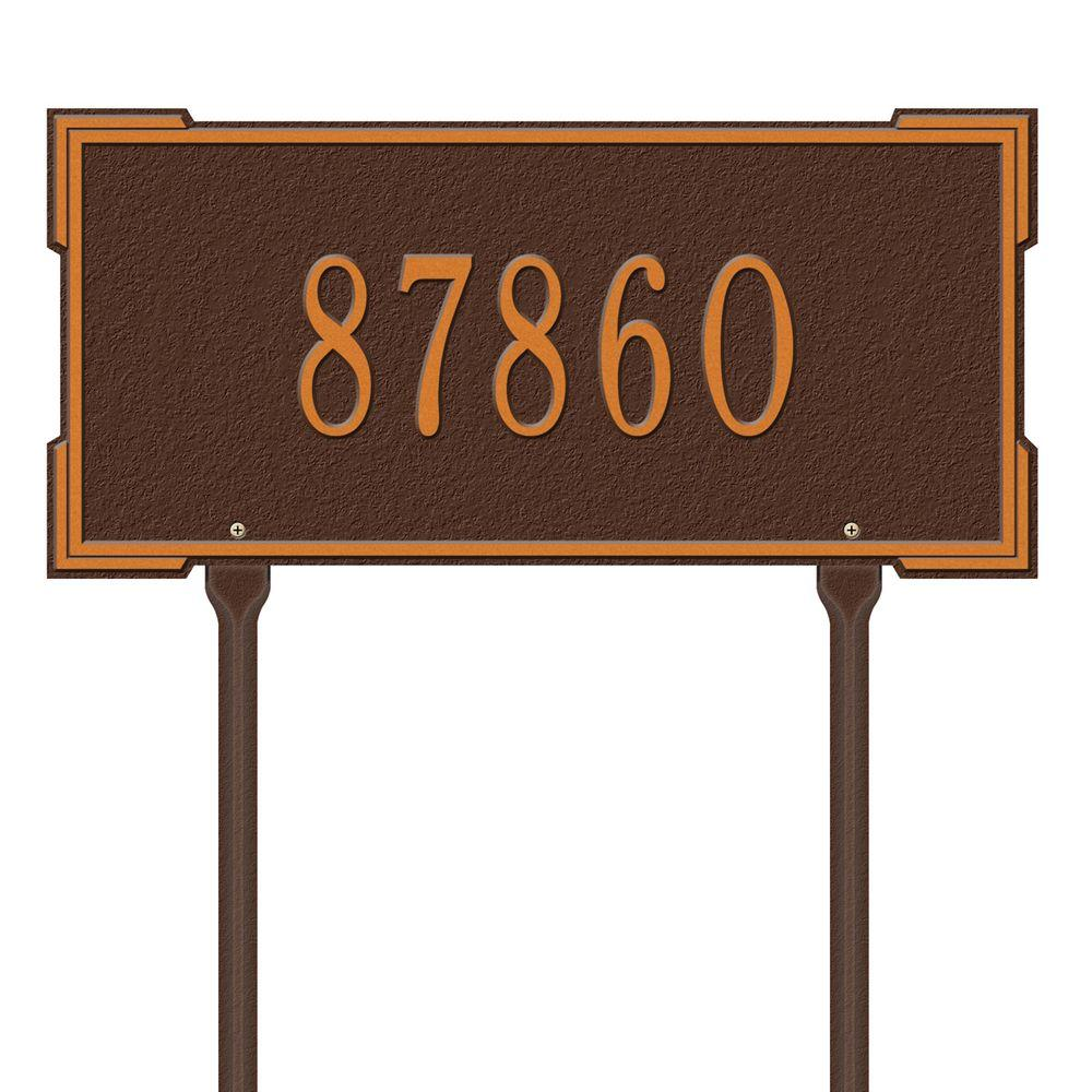 Whitehall Products Rectangular Roanoke Standard Lawn 1-Line Address Plaque - Antique Copper