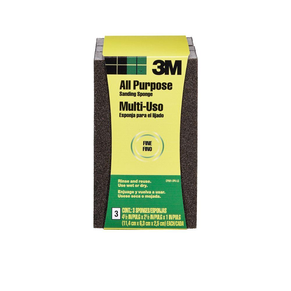 3M 4-1/2 in. x 2-1/2 in. x 1 in. Fine-Grit Block Sanding Sponge ((3-Pack) (Case of 6))