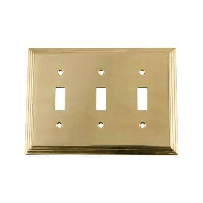 Deco Switch Plate with Triple Toggle in Polished Brass