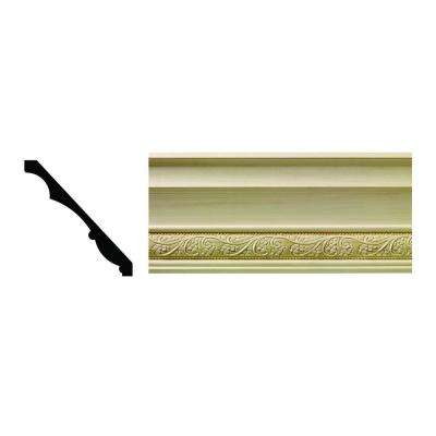 1608 1/2 in. x 5-1/4 in. x 6 in. Hardwood White Unfinished Whimsey Crown Moulding Sample
