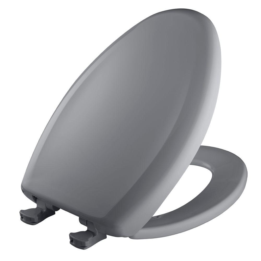 Slow Close STA-TITE Elongated Closed Front Toilet Seat in Classic Grey