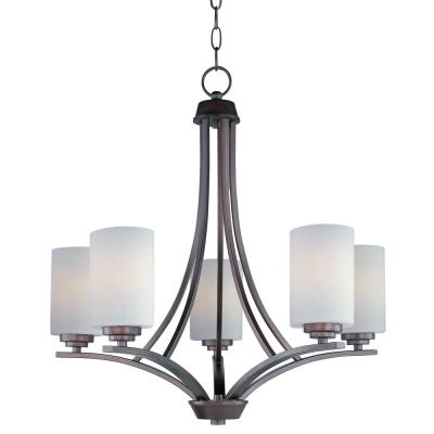 Deven 5-Light Oil Rubbed Bronze Chandelier with Satin White Shade