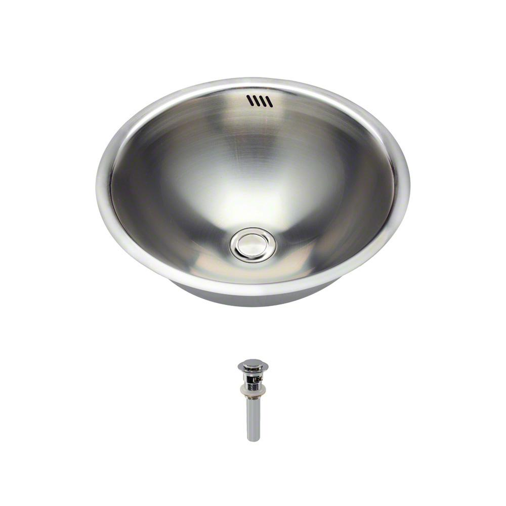 Tri-Mount Bathroom Sink in Stainless Steel with Pop-Up Drain in Chrome
