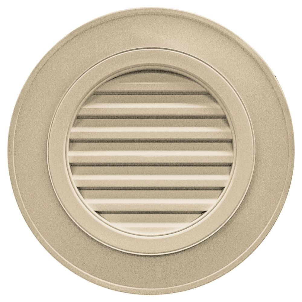 28 in. Round Gable Vent in Light Almond (without Keystones)