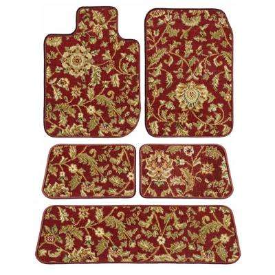 Ford Explorer Red Oriental Car Mats, Custom Fit for 2015 to 2019 - Driver, Passenger, 2nd and 3rd Row Carpet Car Mats