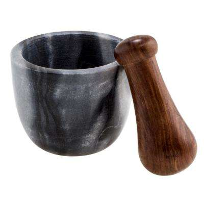 Black Marble and Sheehan Wood Mortar and Pestle
