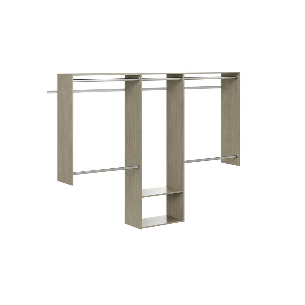 Closet Evolution Essential 60 in. W - 96 in. W Rustic Grey Wood Closet System