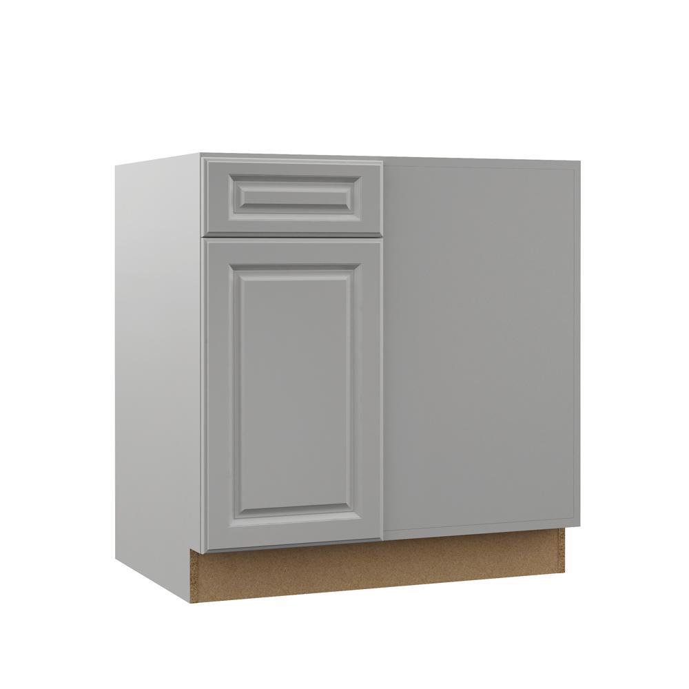 Elgin Assembled 42x34.5x23 in. Blind Corner Base Kitchen Cabinet in Heron Gray