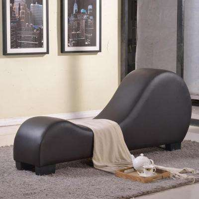 Versa-Chair Dark Brown Leatherette Curved Back Chaise Lounge