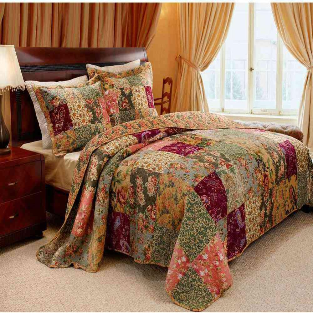 Greenland Home Fashions Antique Chic 3-Piece Multi Full and Queen Quilt Set