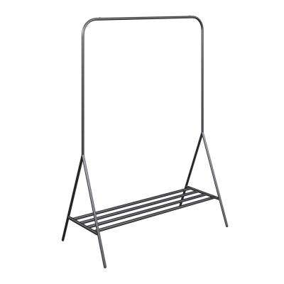 Tia Black Metal Freestanding Clothing Garment Rack for Closet Entryway with Hanging Rod and Bottom Shelf or Shoe Storage