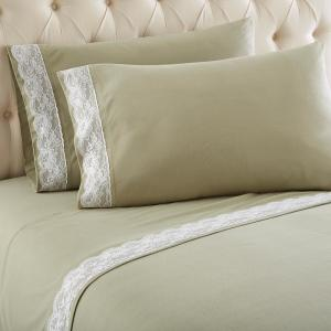 Micro Flannel Queen Meadow Lace Edged Sheet Set by Micro Flannel