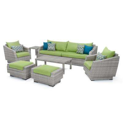 Cannes 8-Piece All-Weather Wicker Patio Sofa and Club Chair Seating Group with Sunbrella Ginkgo Green Cushions