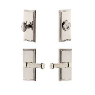Carre Plate 2-3/8 in. Backset Polished Nickel Georgetown Door Lever with Single Cylinder Deadbolt