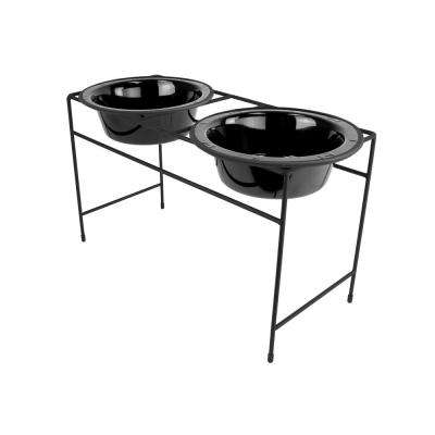Platinum Pets Modern Double Diner Feeder with Stainless Steel Cat/Dog Bowls, Midnight Black