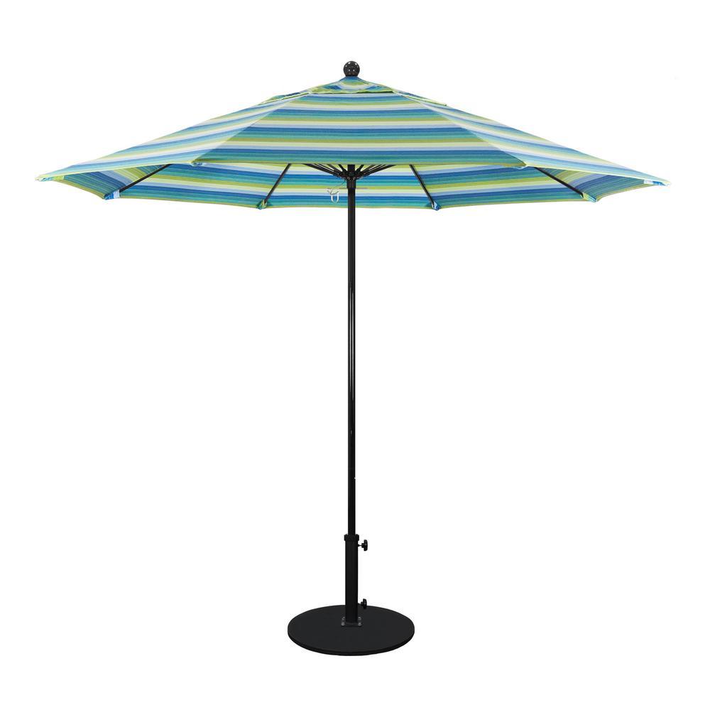 California Umbrella 9 ft. Black Fiberglass Outdoor Market ...