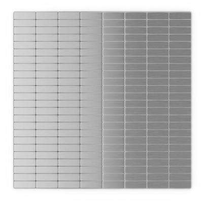 Urbain S2 Silver Stainless Steel 11.42 in. x 11.57 in. x 5 mm Metal Self-Adhesive Wall Mosaic Tile (22.08 sq.ft./ case)