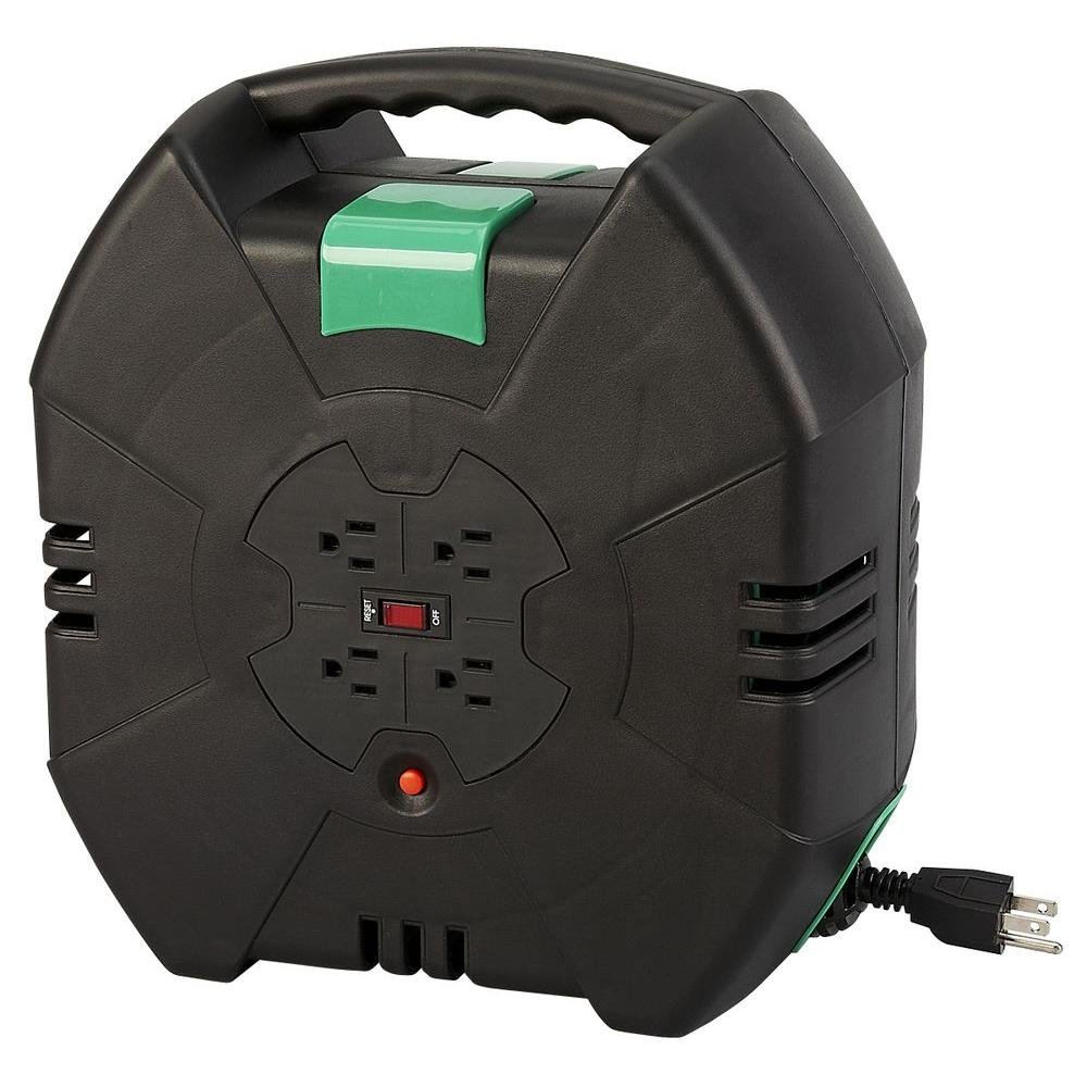 designcord 50 ft 16 3 auto rewind extension cord reel 80355 the home depot. Black Bedroom Furniture Sets. Home Design Ideas