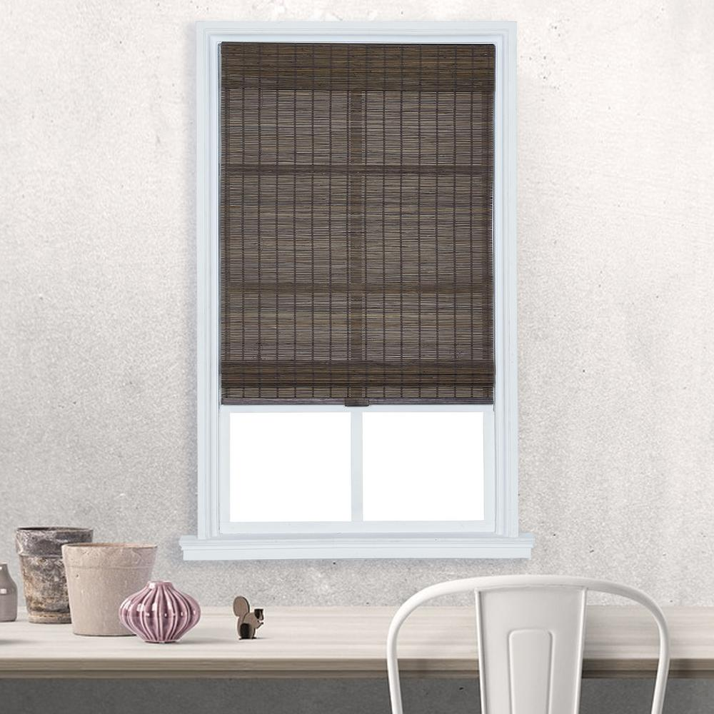 Home Basics Dark Olive Brown Cordless Light Filtering Bamboo Roman Shade 23 In W X 72 L