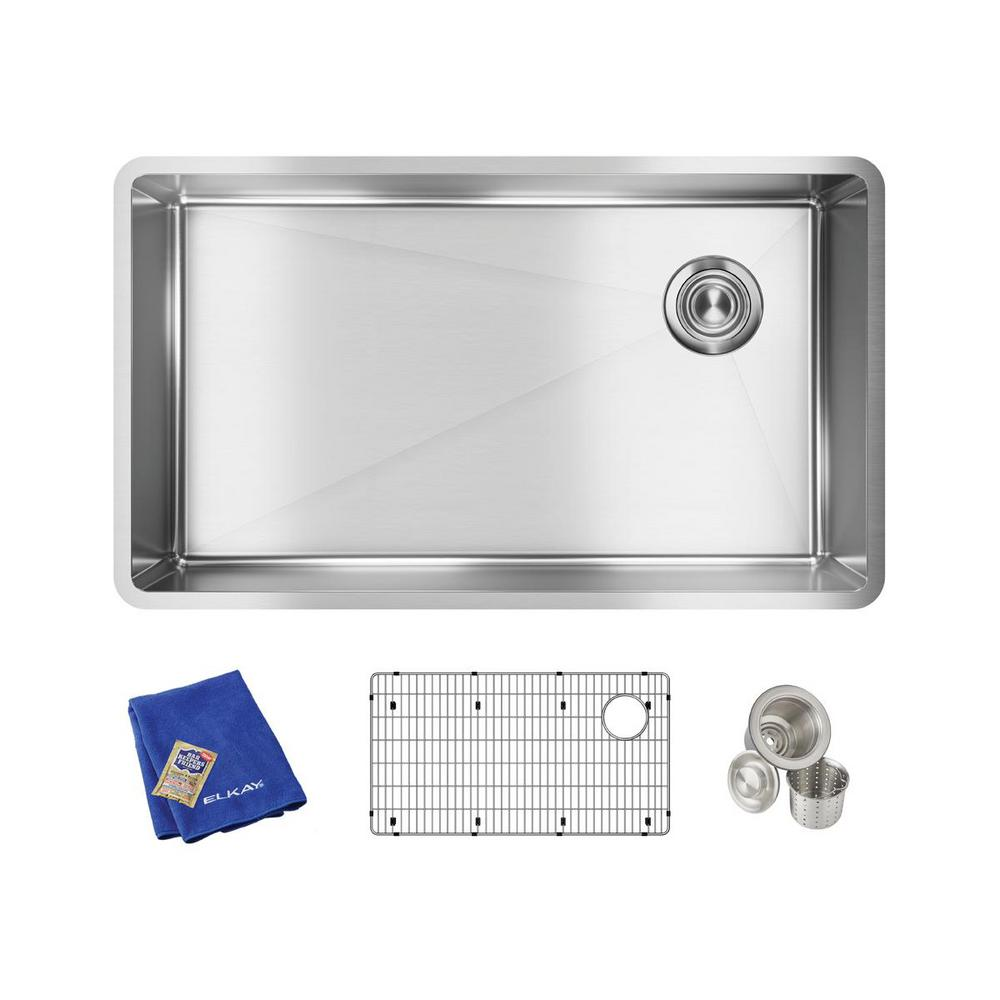 Elkay Crosstown Undermount Stainless Steel 32 In Single Bowl Kitchen Sink With Bottom Grid And Drain