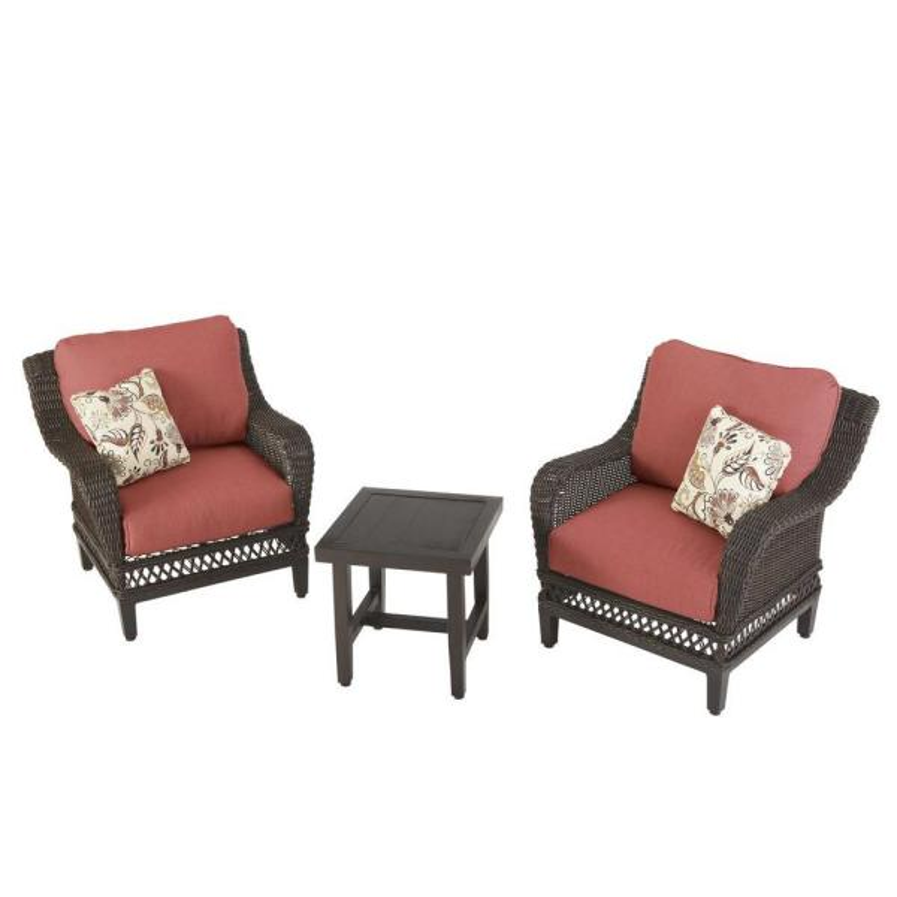 Hampton Bay Woodbury 3-Piece Wicker Outdoor Patio Seating Set with