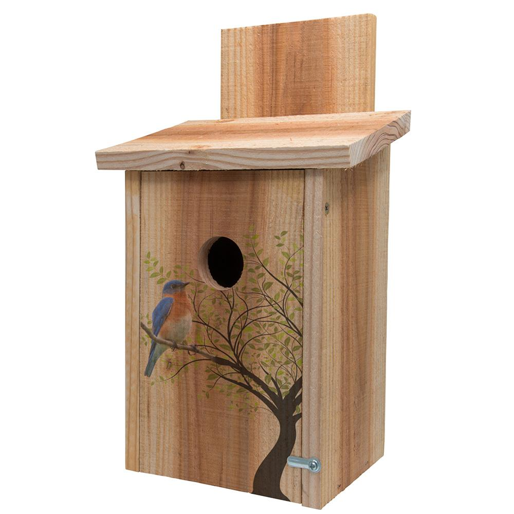 S and K Decorative Bird in Tree Cedar Blue Bird House