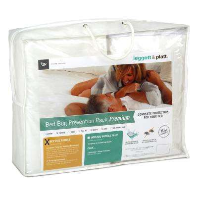 SleepSense Premium Bed Bug Prevention Pack InvisiCase Easy Zip Polyester Mattress Protector Box Spring Cover Bundle
