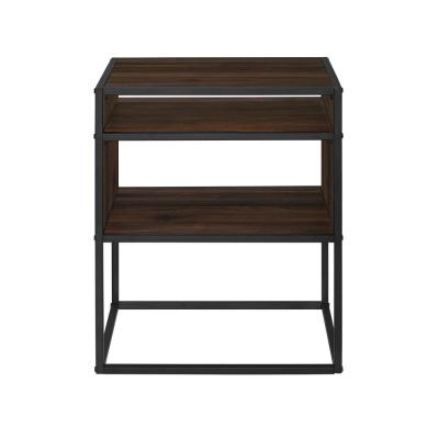20 in. Dark Walnut Metal and Wood Side Table with Open Shelf