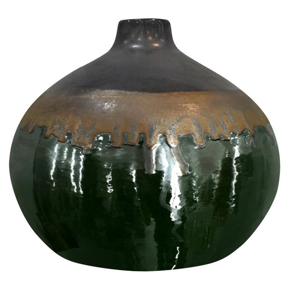 10 in. Green Ceramic Decorative Vase