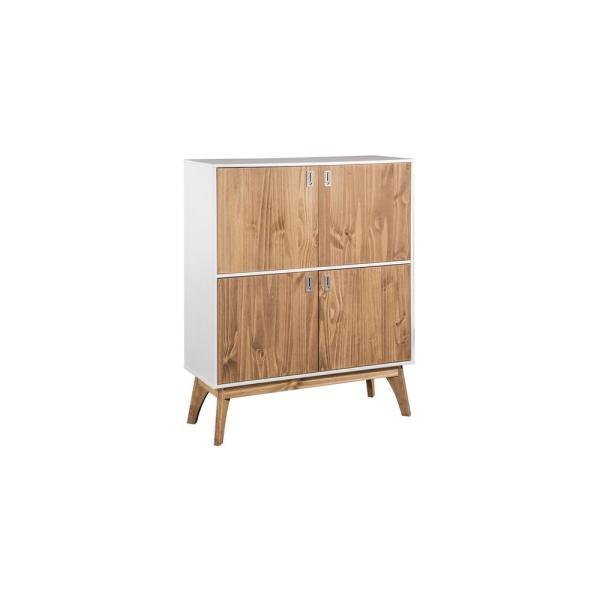 Manhattan Comfort Jackie 49.4 in. High White and Natural Wood Dresser