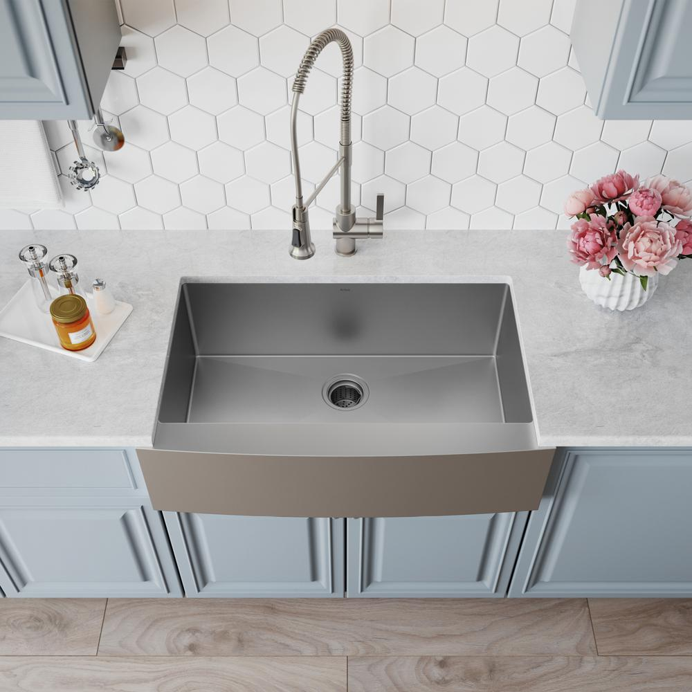 KRAUS Standart PRO Farmhouse Apron-Front Stainless Steel 33 in. Single Bowl  Kitchen Sink