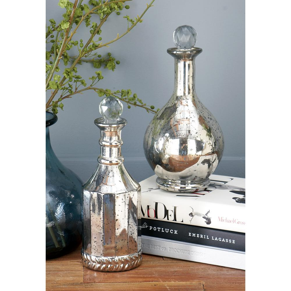 decorated glass bottles. null Spattered Metallic Gold Decorative Glass Bottles  Set of 3 94957