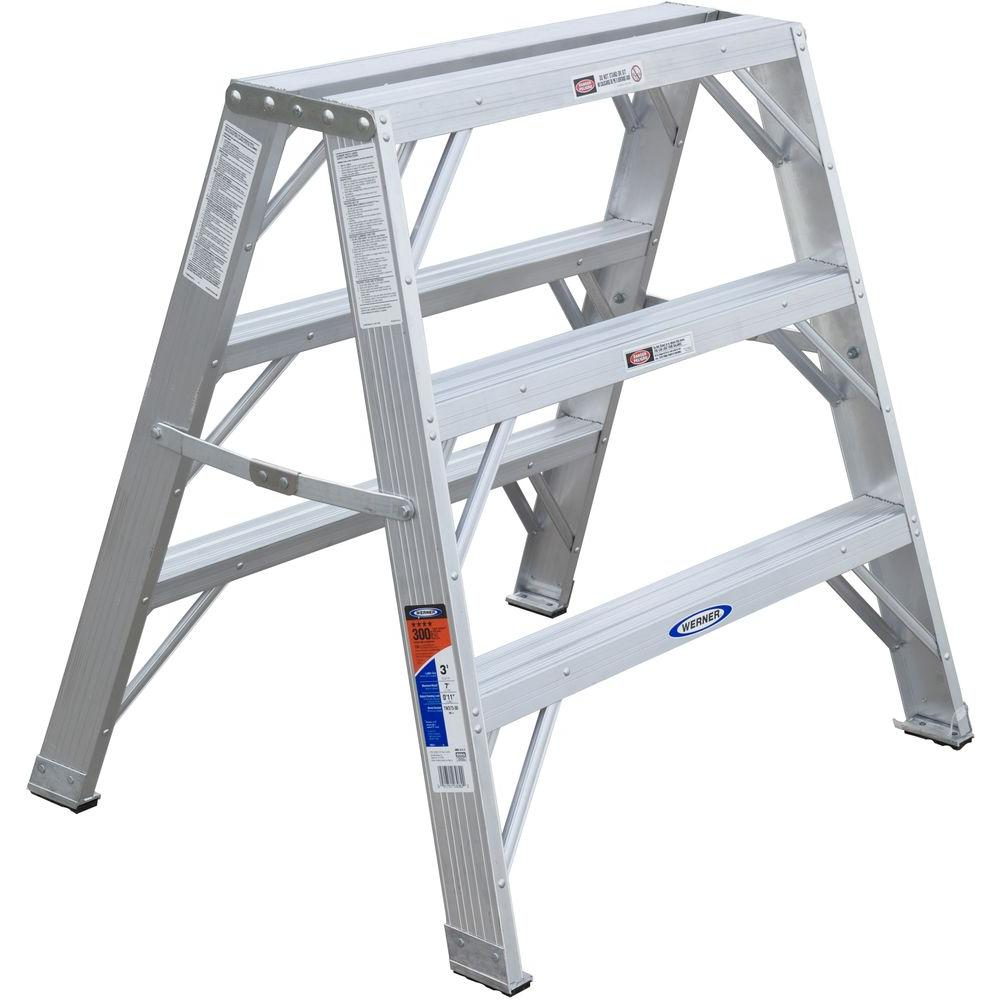 Werner 3 Ft Aluminum Work Stand Step Ladder With 300 Lb
