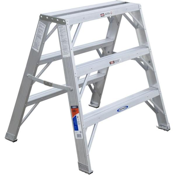 3 ft. Aluminum Extra-Wide Work Stand Step Ladder with 300 lb. Load Capacity Type IA Duty Rating