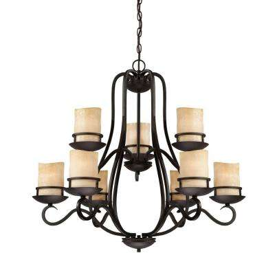 Lauderhill 9-Light Natural Iron Interior Incandescent Chandelier