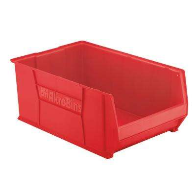 Super-Size AkroBin 18.3 in. 300 lbs. Storage Tote Bin in Red with 22 Gal. Storage Capacity